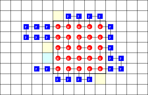 2D HP folding problem: implementation of an exhaustive search algorithm.